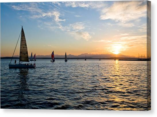 Sailboat Sunset Canvas Print by Tom Dowd