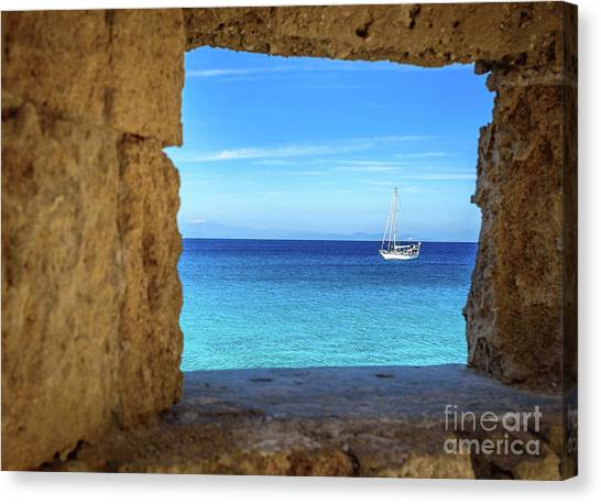 Sailboat Through The Old Stone Walls Of Rhodes, Greece Canvas Print