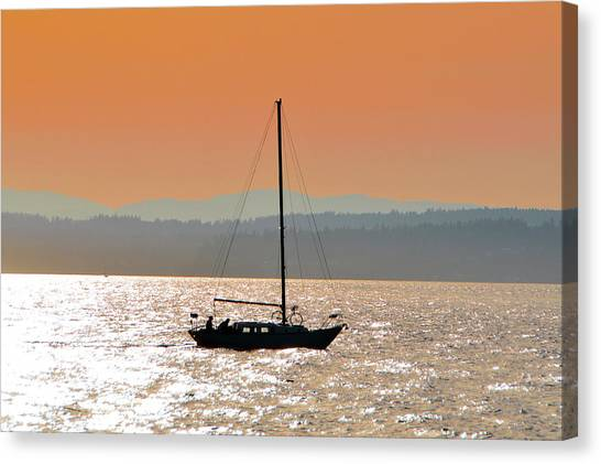 Sailboat With Bike Canvas Print