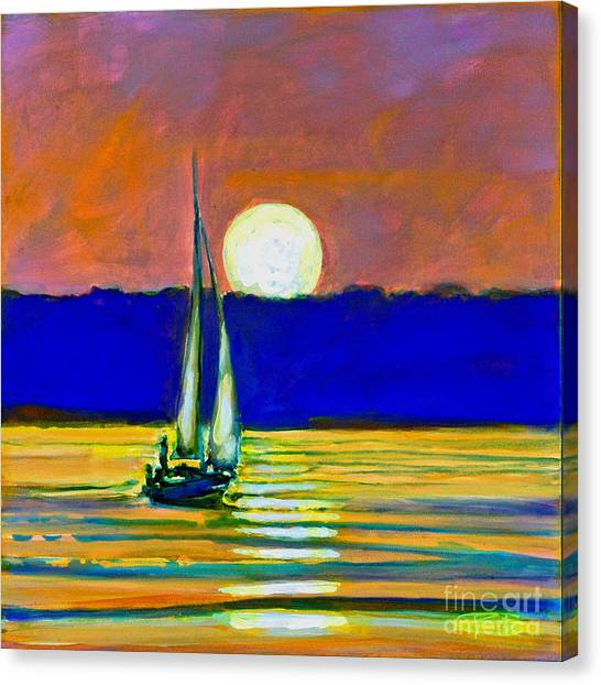 Sailboat With Moonlight Canvas Print by Kip Decker