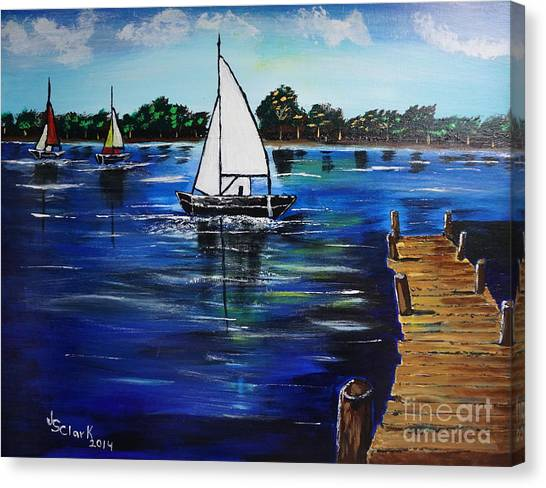 Sailboats And Pier Canvas Print