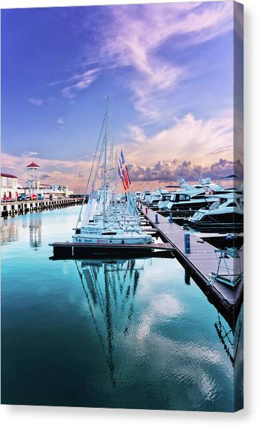 sailboats and yachts in the roads of the main sea channel of the Sochi seaport Canvas Print