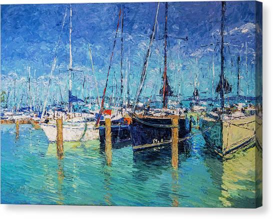 Sailboats At Balatonfured Canvas Print
