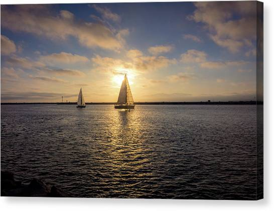 Sailboats At Sunset Canvas Print