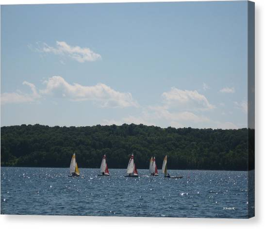 Sailboats In Eagle Harbor Canvas Print