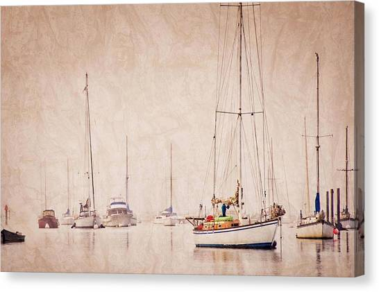Sailboats In Morro Bay Fog Canvas Print