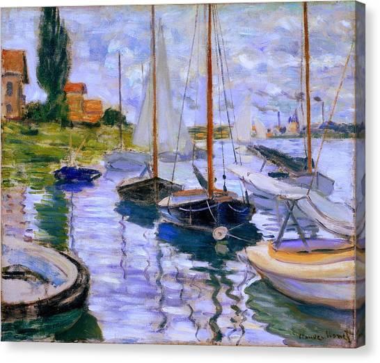 Sailboats On The Seine At Petit Gennevilliers Claude Monet 1874 Canvas Print