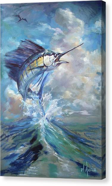 Saltwater Life Canvas Print - Sailfish And Frigate by Tom Dauria
