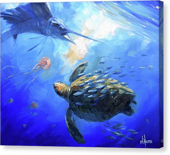Saltwater Life Canvas Print - Sailfish And Turtle by Tom Dauria