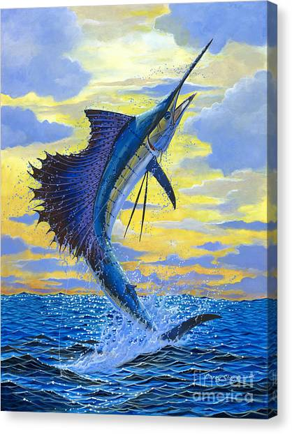 Angler Art Canvas Print - Sailfish Point Off00158 by Carey Chen