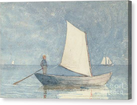 Beach Canvas Print - Sailing A Dory by Winslow Homer