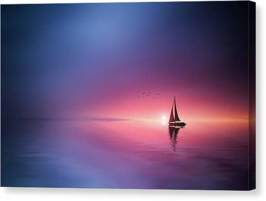 Sailing Across The Lake Toward The Sunset Canvas Print