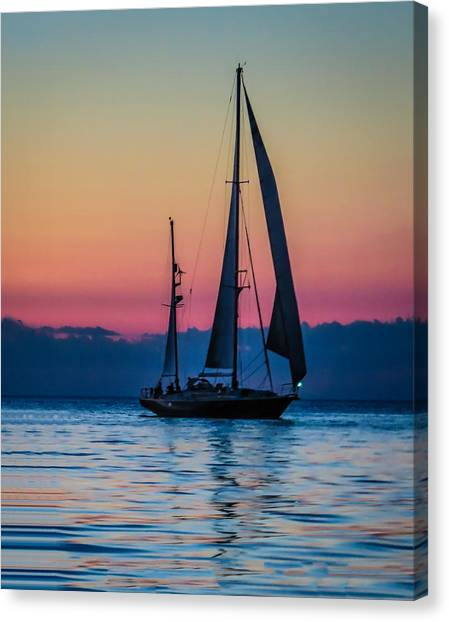 Sailing After Sunset Canvas Print