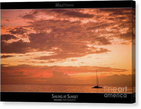 Sailing At Sunset - Maui Hawaii Posters Series Canvas Print by Denis Dore