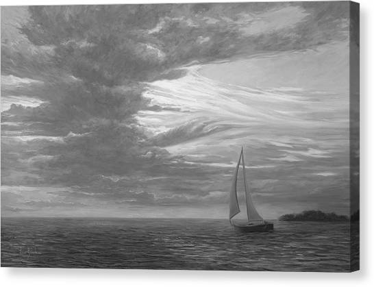Sailboats Canvas Print - Sailing Away - Black And White by Lucie Bilodeau