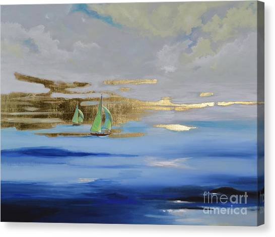 Canvas Print featuring the painting Sailing Away by Mary Scott