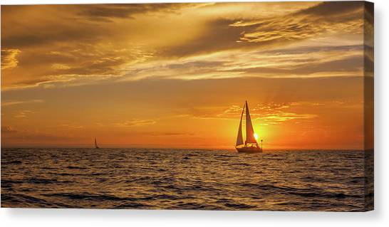 Sailing Away Two Canvas Print by Steve Spiliotopoulos