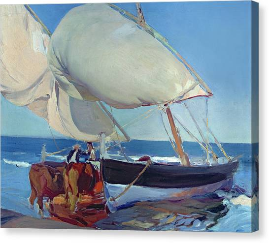 Fishing Boats Canvas Print - Sailing Boats by Joaquin Sorolla y Bastida