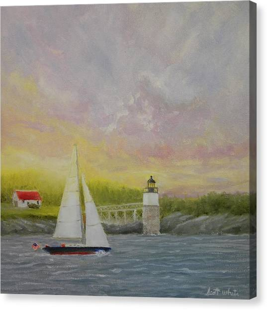 Sailing By Ram Island Canvas Print