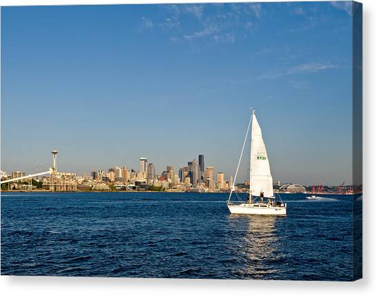 Sailing By Seattle Canvas Print by Tom Dowd