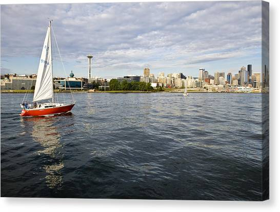 Sailing Downtown Canvas Print by Tom Dowd