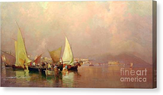 Sailing Fishermen Boats In Naples Canvas Print