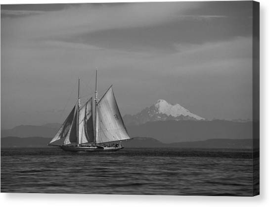 Sailing In Pacific Northwest Canvas Print
