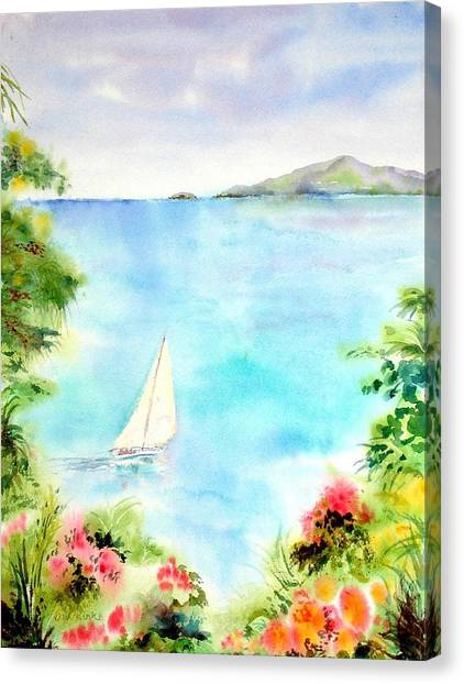 Sailing In The Caribbean Canvas Print