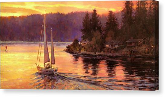 Cloud Forests Canvas Print - Sailing On The Sound by Steve Henderson