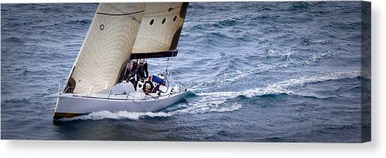 Sailing On The Straits Canvas Print by Sandy Buckley