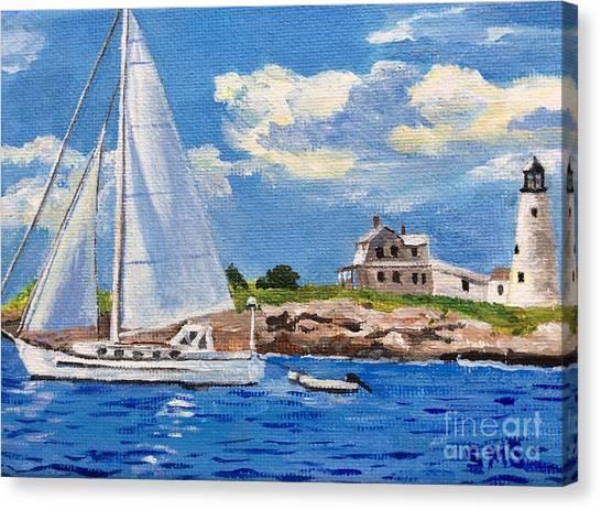 Sailing Past Wood Island Lighthouse Canvas Print