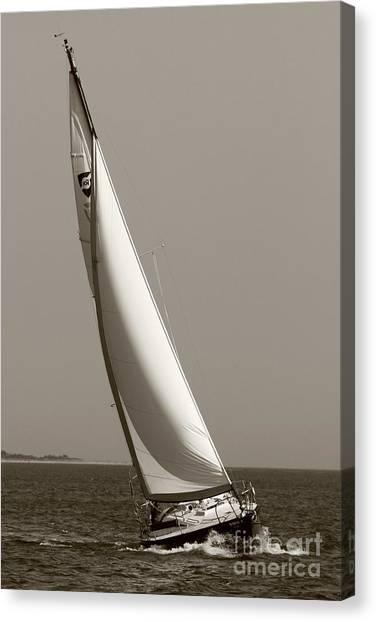 Sailing Sailboat Sloop Beating To Windward Canvas Print