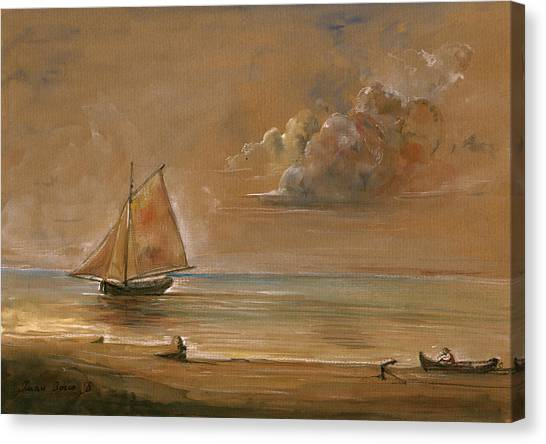 Nautical Decor Canvas Print - Sailing Ship At Sunset by Juan  Bosco