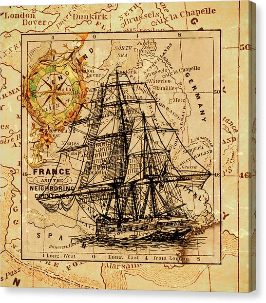 Sailing Ship Map Canvas Print