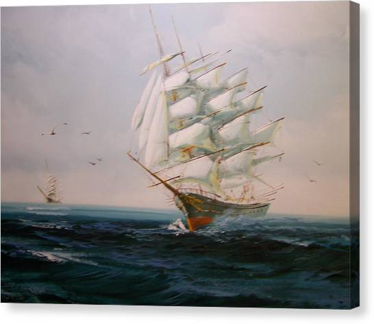 Sailing Ships The Beauty Of The Sea Canvas Print by Robert E Gebler