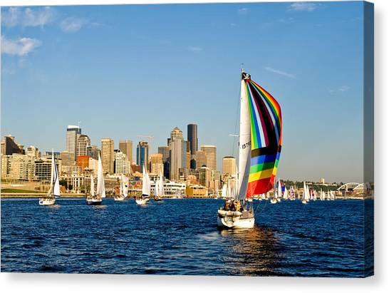 Sailing Some Color To Seattle Canvas Print by Tom Dowd