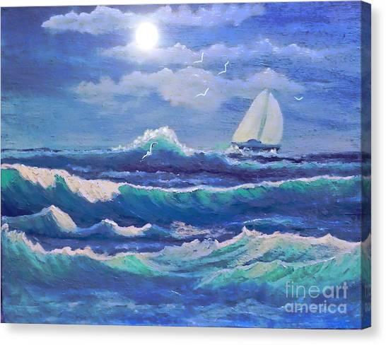 Sailing The Caribbean Canvas Print