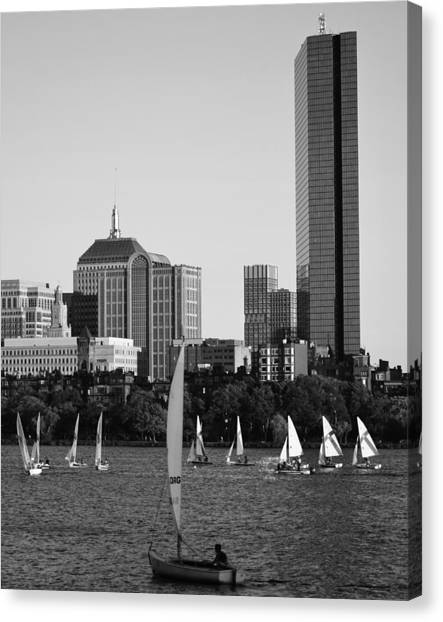 Sailing The Charles River Boston Ma Black And White Canvas Print