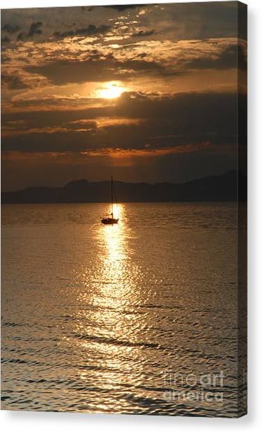 Sailing The Great Salt Lake At Sunset Canvas Print by Dennis Hammer