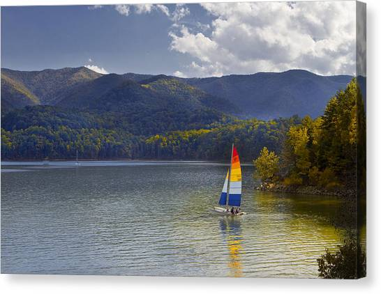 Sailing The Mountain Lakes Canvas Print