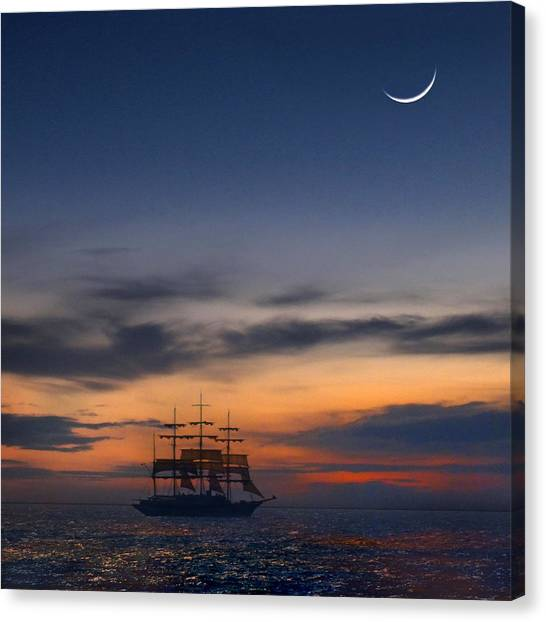 Schooner Canvas Print - Sailing To The Moon 2 by Mike McGlothlen