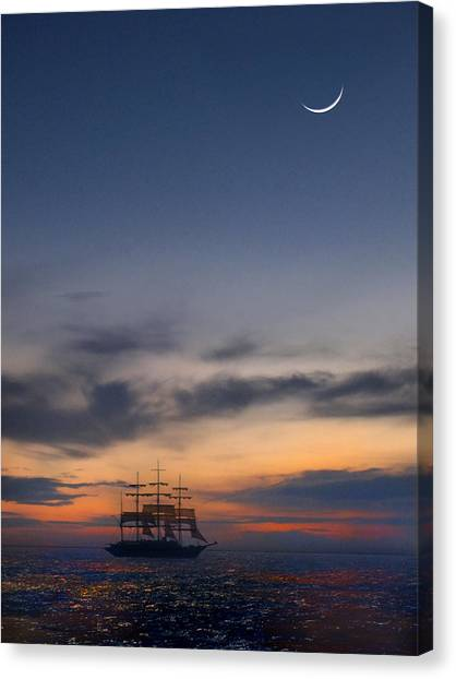 Schooner Canvas Print - Sailing To The Moon by Mike McGlothlen