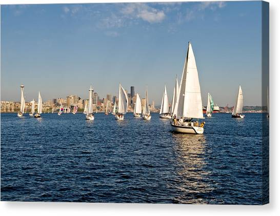 Sailing To The Space Needle Canvas Print by Tom Dowd