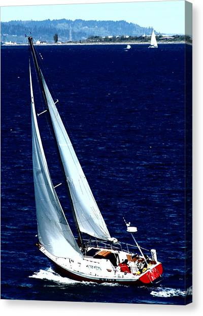 Jibbing Canvas Print - Sail'n by Lori Seaman