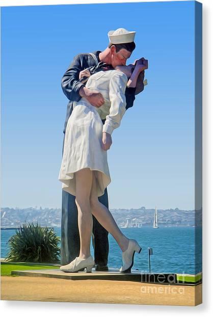 Sailors Kiss Canvas Print