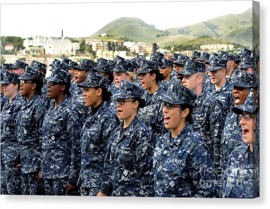 Camouflage Canvas Print - Sailors Yell Before An All-hands Call by Stocktrek Images
