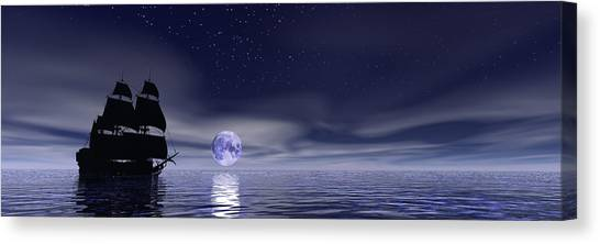 Sails Beneath The Moon Canvas Print