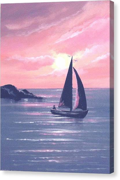 Sails In The Sunset Canvas Print by Cathal O malley