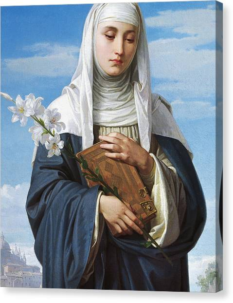 Nuns Canvas Print - Saint Catherine Of Siena by Alessandro Franchi
