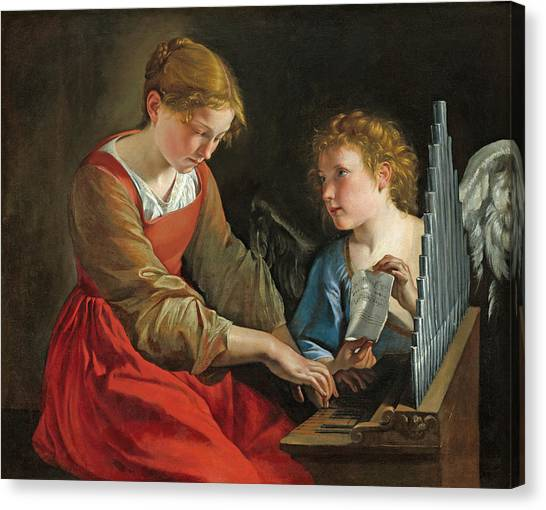 Saint Cecilia And An Angel Canvas Print